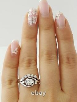 0.60 ct Vintage 14K White Gold Round Diamond Wedding Band Engagement Ring Set