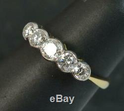 0.85 Carat Diamond 18 Carat Gold Five Stone Half Eternity Stack Ring d0261