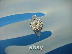 1.00 Carat Old Mine Cut Diamond Art-deco Antique Filigree Ring 14 K. Gold