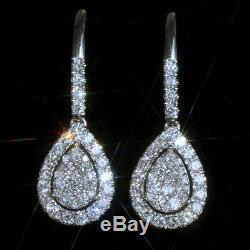 1.1Ct 100% Natural Diamond 14K White Gold Cluster Earrings EFFECT 2Ct EWG137