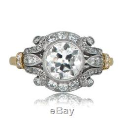 1.6 Ct Diamond Vintage Edwardian Circa Inspired Antique Engagement Art Deco Ring