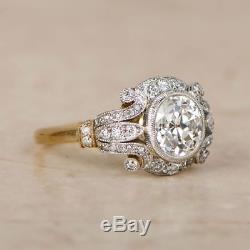 1.7 Ct Diamond Vintage 14K White Gold Over Antique Engagement Art Deco Ring