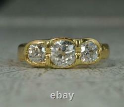 1.70ct Old Cut Diamond 18 Carat Gold Trilogy Ring c1900 d0318