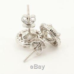 1.82ct Diamond Solitaire Halo Studs 14k White Gold Earrings VTG Antique Estate