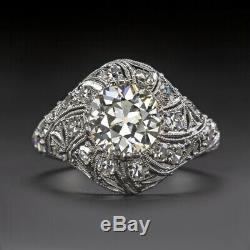 1.9ctw VS OLD EURO CUT DIAMOND ENGAGEMENT RING PLATINUM ART DECO VINTAGE ANTIQUE