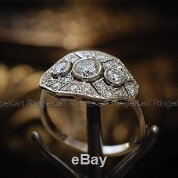 1 Ct Diamond Vintage Edwardian Antique Engagement Art Deco Cluster Ring Era 1925