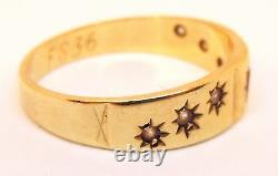 100% Genuine Vintage 9k Solid Yellow Gold 0.10cts Sapphire Gypsy Ring Sz 7 US
