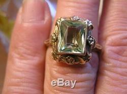 10K Antique Vaseline Uranium Glass Ring Floral Frame Rose Gold RAVE! GLOWS