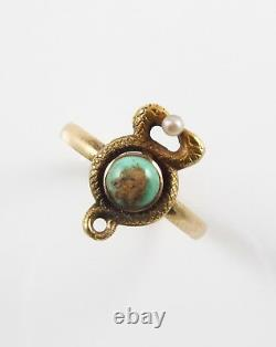 10k Gold Victorian Art Nouveau Twisted Serpents Pearl & Turquoise Ring Size 4.5