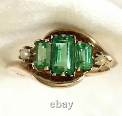 10k Solid Yellow Gold Antique Emerald & Seed Pearl Cocktail Ring Size 4.75