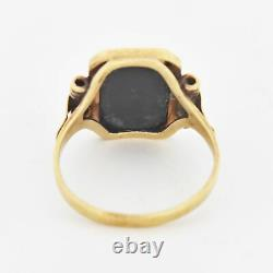 10k Yellow Gold Antique Deco Style Black Onyx Ring Size 7