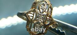 10k Yellow Gold Vintage Antique Art Deco Diamond Shield Ring Diamond size 6