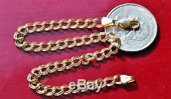 10k yellow gold 8.0 double link charm bracelet vintage handmade 2.0gr