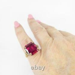 11.25Ct Emerald Cut Red Ruby Vintage Wedding Women's Ring 14k Yellow Gold Over