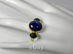 12.99cts ESTATE NATURAL SAPPHIRE & EMERALD RING 18K YELLOW GOLD