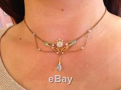 14K Art Nouveau Festoon Sapphire Aqua Dia & Pearl Necklace with Enamel HM925
