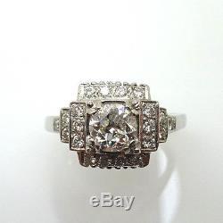 14K Gold Art Deco 1 1/4 Carat Genuine Natural Diamond Ring (#C776) Engagement