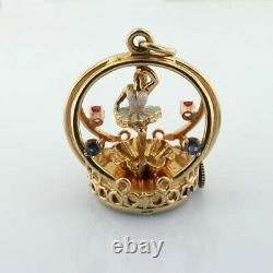 14K Gold Dankner Spinning Ballerina Living Charm Mechanical Vintage Pendant