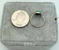 14K Gold Victorian Turquois Statement Ring- Vintage, Estate- Size 5.75-Bezel Set