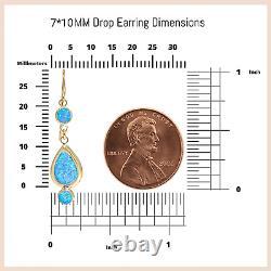 14K SOLID YELLOW GOLD 7X10mm Turquoise Teardrop Earrings HANDMADE