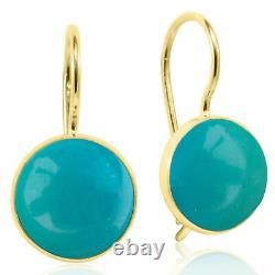 14K Solid Yellow Gold 8mm Turquoise Round Earrings Handmade Holiday Sale