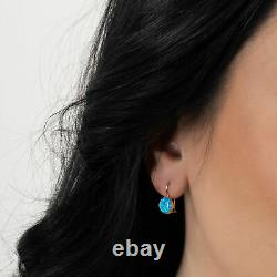 14K Solid Yellow Gold Round 8mm Blue Opal Drop Earrings Handmade Holiday Sale