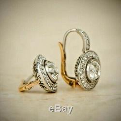 14K White Gold Over Antique Vintage Art Deco 4.0Ctw Diamond Halo Earrings 1920's