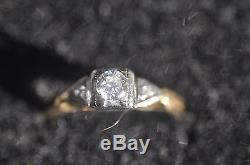 14K Yellow Gold Art Deco Diamond Ring