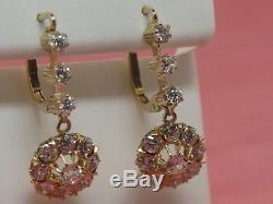 14K Yellow Gold Old Mine and European Cut Diamond Earrings (Estate Jewelry)
