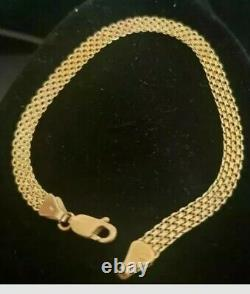 14K Yellow Gold Vintage Wide Mesh Bracelet