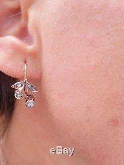 14ct/14k gold rose cut Diamond Victorian Art Nouveau drop earrings, 585