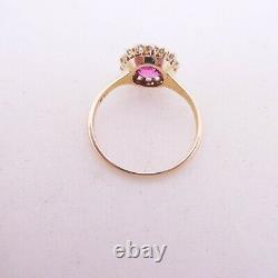 14ct gold pink sapphire old cut diamond ring, cluster art deco design