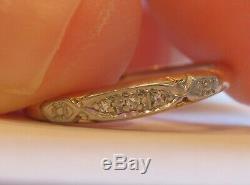 14k Antique Vintage Art Deco Diamond Engagement Wedding Anniversary Ring Band