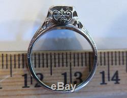 14k Antique Vintage Art Deco Filigree Floral Old Cut Diamond Engagement Ring