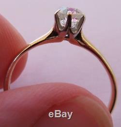14k Antique Vintage Art Deco Old Mine Cut Diamond Solitaire Engagement Ring Rare
