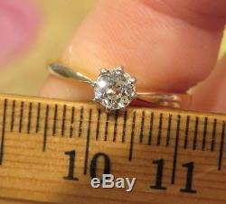 14k Antique Vintage Art Deco Old Mine Cut Diamond Solitaire Engagement Ring Wow
