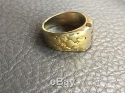 14k Gold Diamond Ring With Natural Gold Nugget Inlay