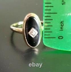 14k Gold Vintage Diamond and Onyx Ring