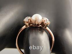 14k Handmade Edwardian Era PEARL Diamond Old Mine Cushion Cut Ring Vintage