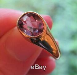 14k Vintage Art Deco Retro Bezel Set Unique Old Cut Amethyst Solitaire Ring