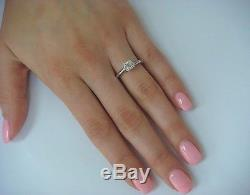 14k White Gold Ladies Antique Solitaire Engagement Ring With 0.40 Carat Diamond