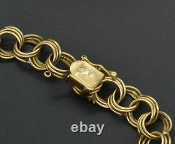 14k YELLOW GOLD VINTAGE CHARM BRACELET 7 3/4 (B95)