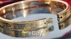 14k yellow gold bracelet 7.0 hinged bangle 1870's antique handmade 10.7gr