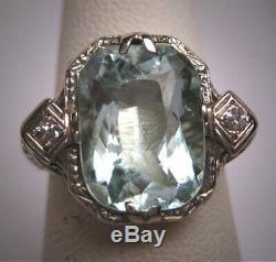 15CT Vintage Aquamarine Diamond Estate Art Deco Antique Wedding 1920 Ring 925 SS