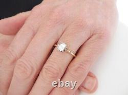 15ct gold silver old mine rose cut diamond solitaire ring