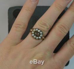 1810 Georgian Rose Gold Hair & Pearl Mourning Signet Ring t0449