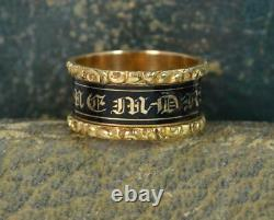 1824 Georgian 18ct Gold & Enamel William Mawer Mourning Band Ring d0351