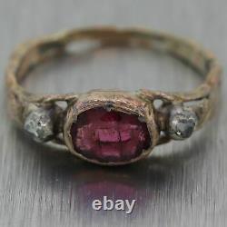 1850's Antique Victorian 10k Yellow Gold Garnet & Rose Cut Diamond Ring