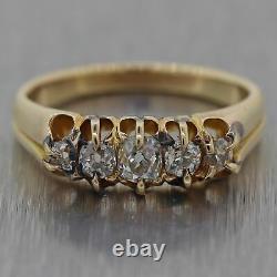 1850's Antique Victorian 14k Yellow Gold 0.50ctw Diamond Wedding Band Ring