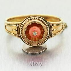 1850's Antique Victorian 14k Yellow Gold Etruscan Revival Coral & Diamond Bangle